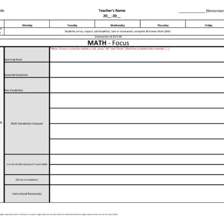 3rd Third Grade Common Core Weekly Lesson Plan Template W Drop Down