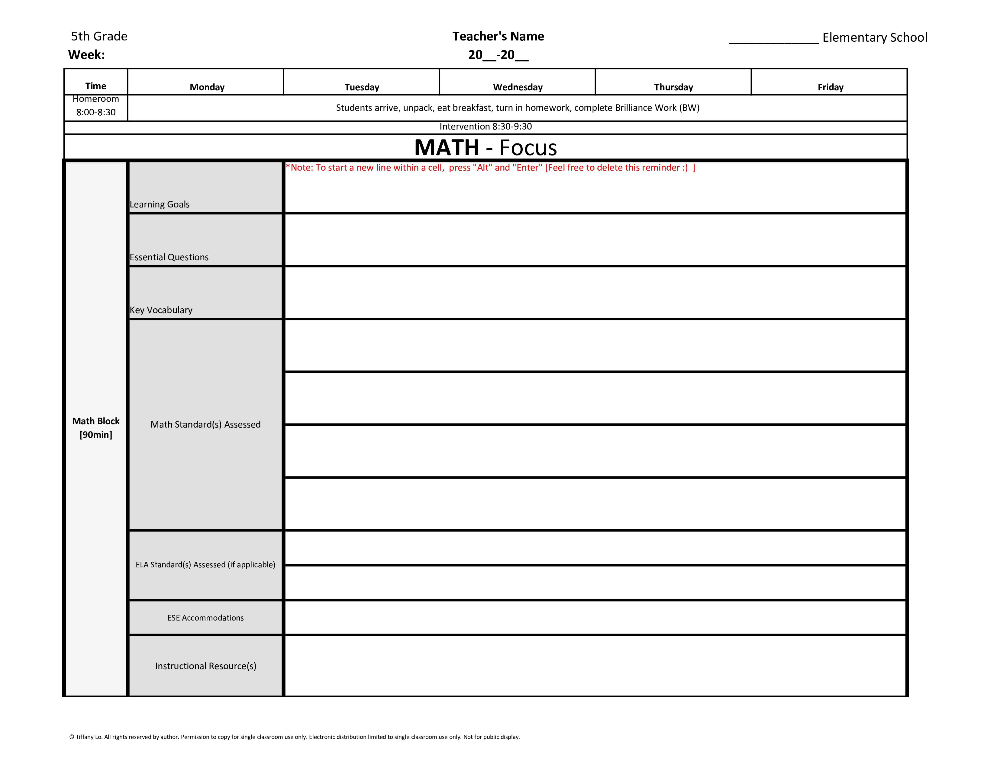 Th Fifth Grade Common Core Weekly Lesson Plan Template W Drop - Common core math lesson plan template