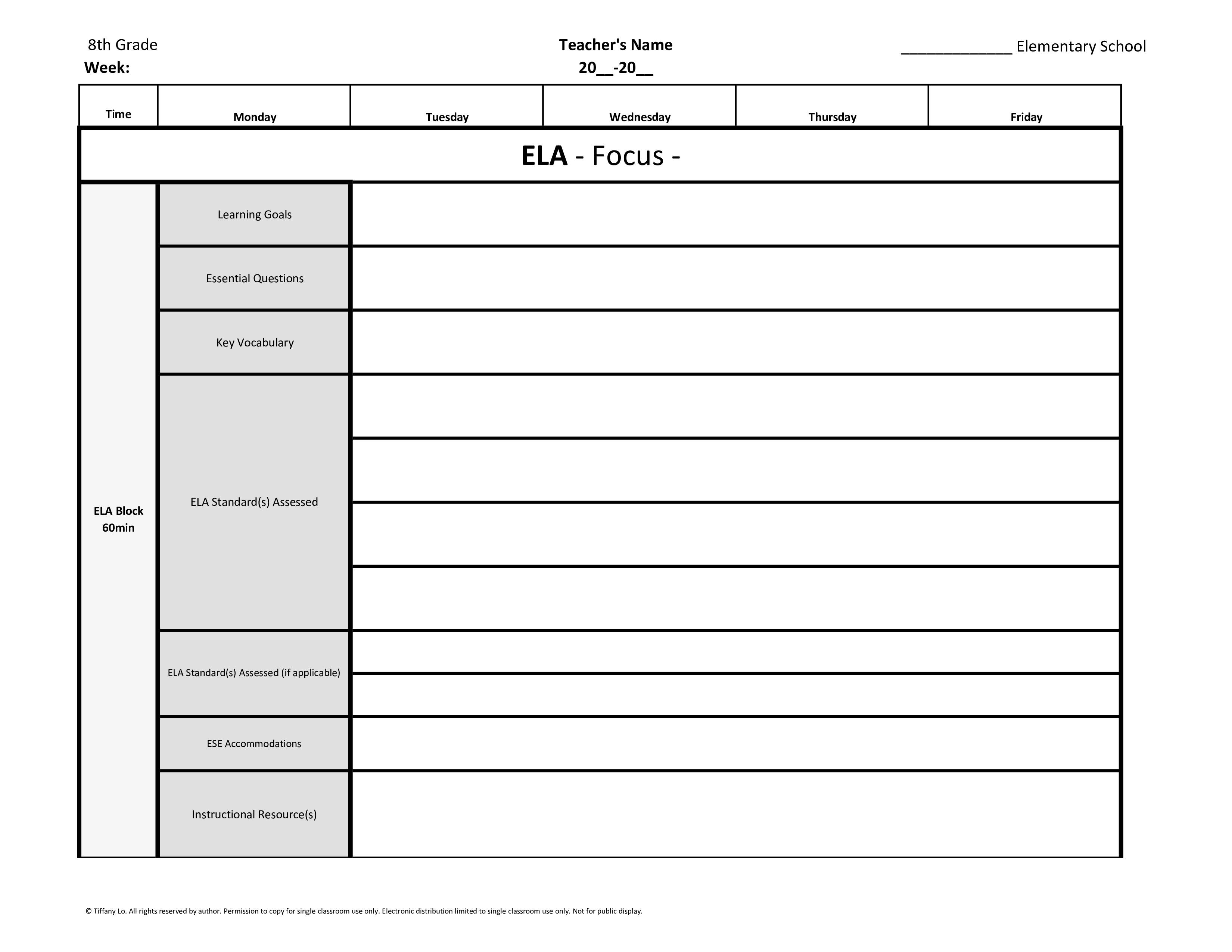 tutor lesson plan template - 8th eighth grade common core weekly lesson plan template w
