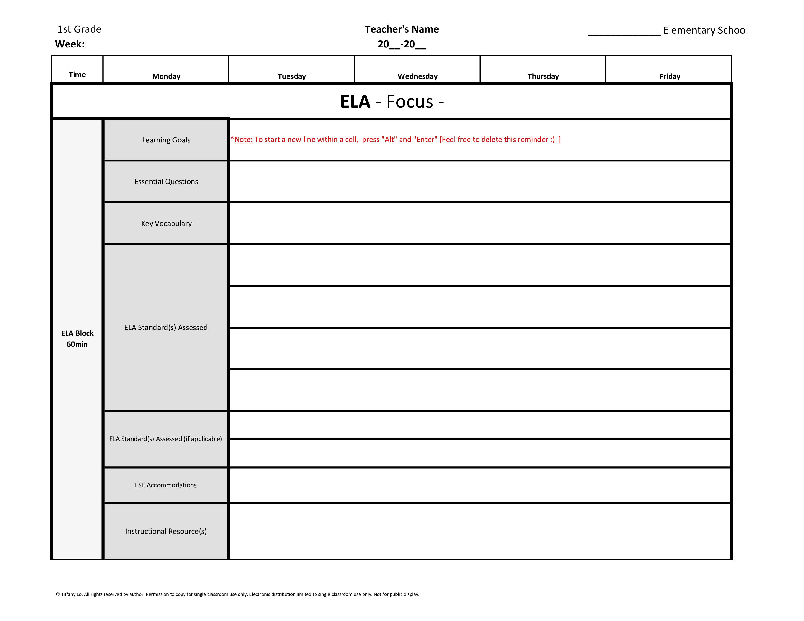 1st first grade weekly lesson plan template w florida standards drop down lists tutor and. Black Bedroom Furniture Sets. Home Design Ideas