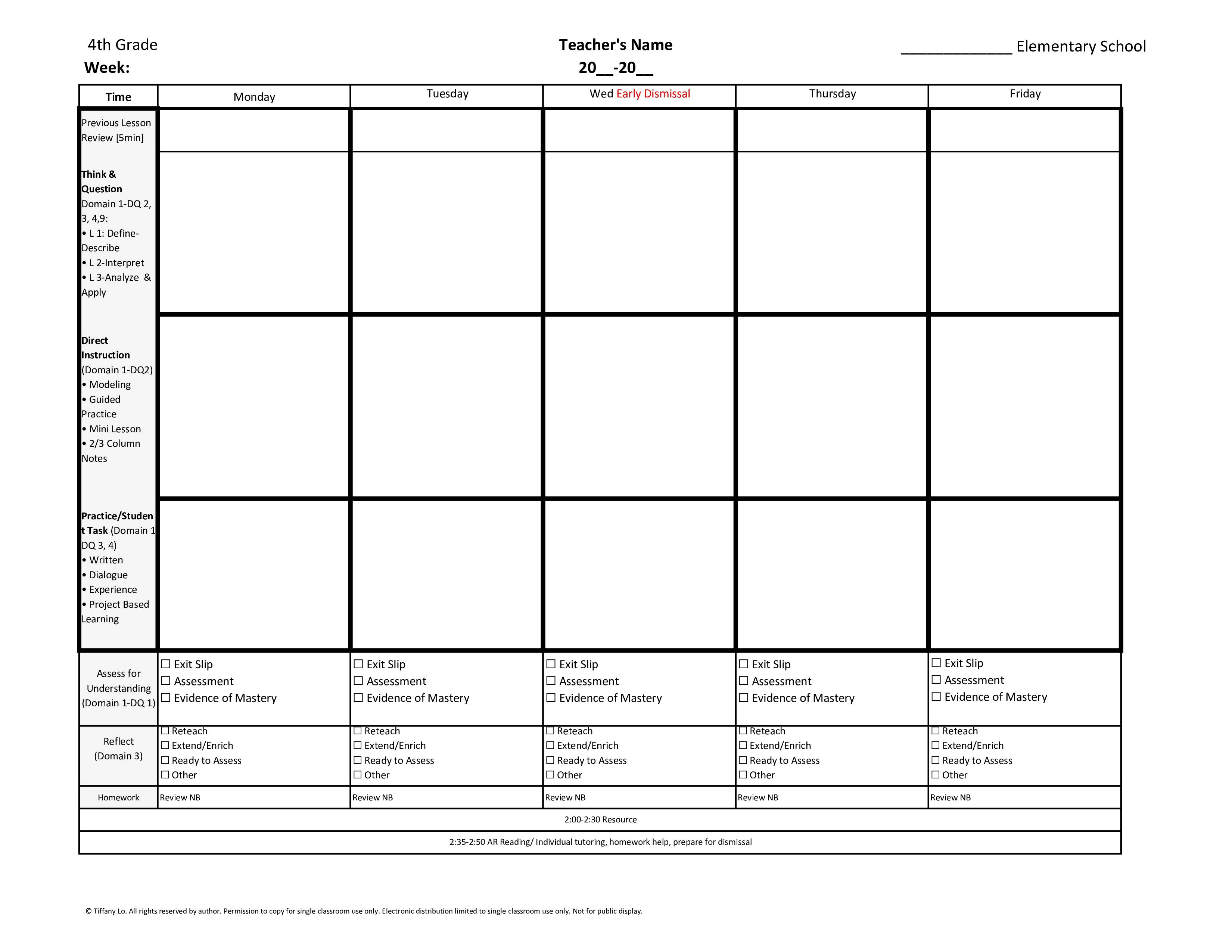 4th Fourth Grade Weekly Lesson Plan Template ...