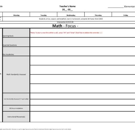 6th Sixth Grade Weekly Lesson Plan Template W Florida Standards