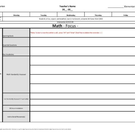 Kindergarten Weekly Lesson Plan Template W Florida Standards Drop